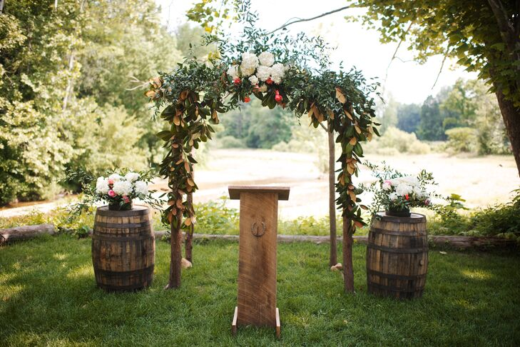 Wedding Ceremony Ideas Flower Covered Wedding Arch: Natural Wooden Wedding Arch With Greenery