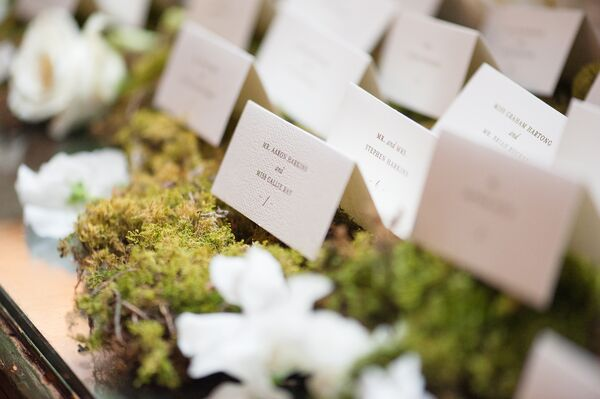 Moss- and Flower-Topped Armoire Escort Card Display