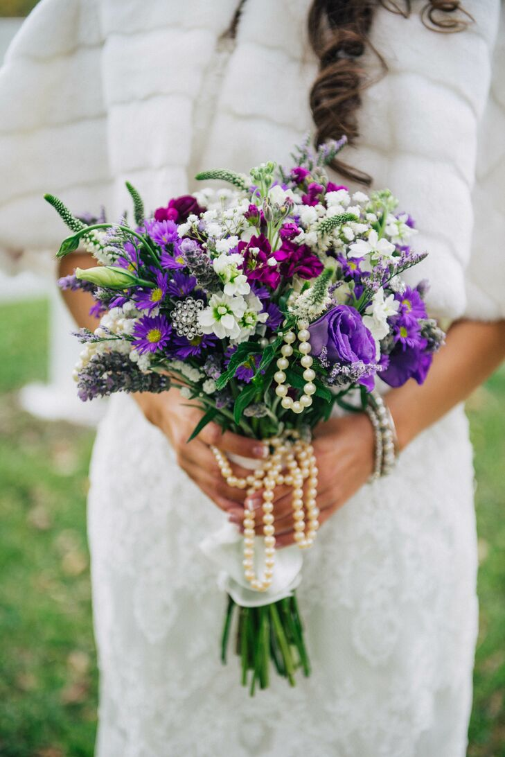 Purple Wildflower Bridal Bouquet With Pearls