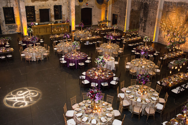 Purple And Gold Reception Decor