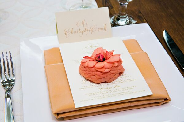 Orange Napkins with Ivory Menu
