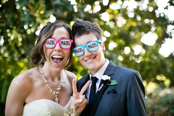 Brides in Hot Pink and Turquoise Glasses