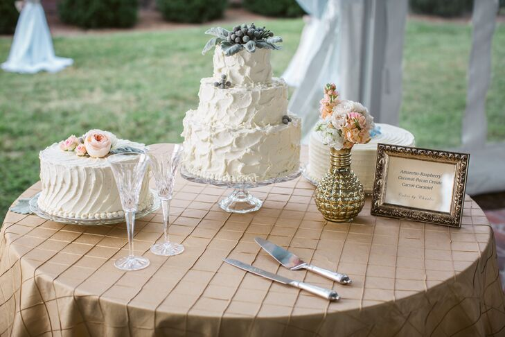 Erika and Jake enjoyed three textured buttercream wedding cakes. One was carrot cake with caramel filling, one was amaretto cake with raspberry filling and the last was coconut creme cake with browned butter filling.
