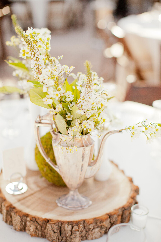 Vintage teapot floral vase natural centerpiece
