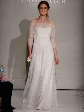 Jenny Yoo Fall 2016 wedding dress with off the shoulder sheer lace sleeves and sparkling lace detail throughout dress and flowing skirt