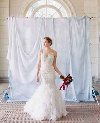Lazaro feathery wedding gown | Corbin Gurkin | blog.theknot.com