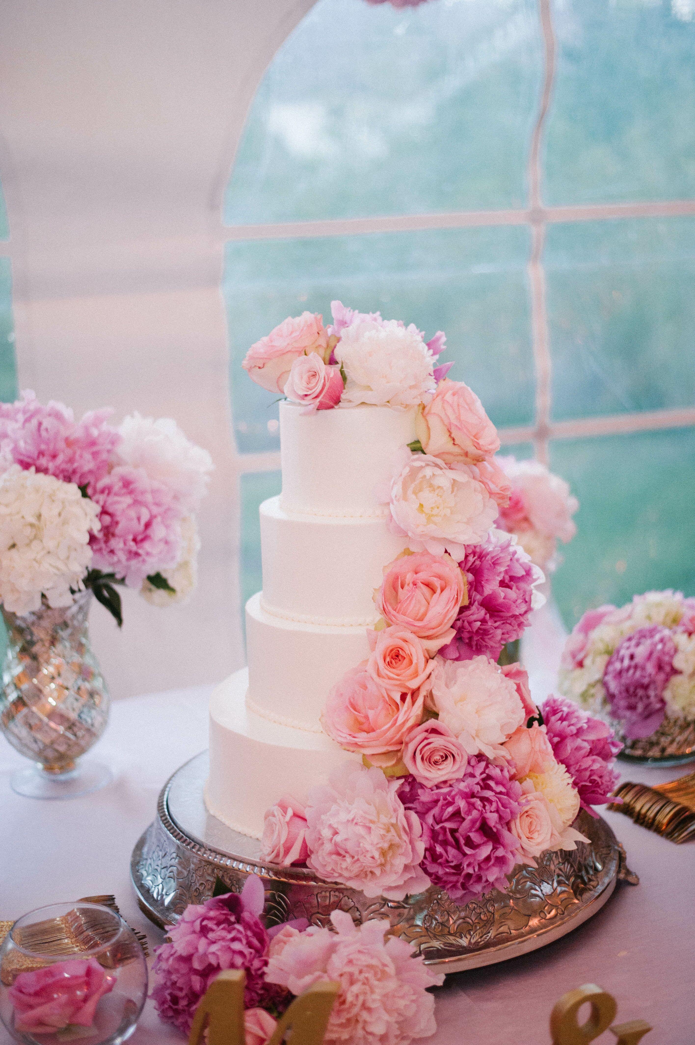 White Wedding Cake With Pink Peonies