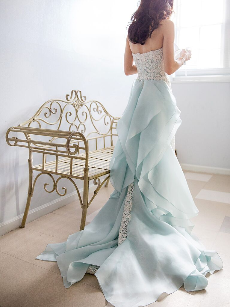Light Blue Oscar De La Renta Wedding Gown With A Lace Column Silhouette And Organza Ruffle