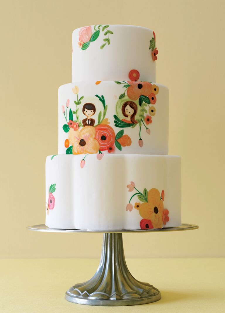 Sweet and Saucy Shop illustrated floral wedding cake