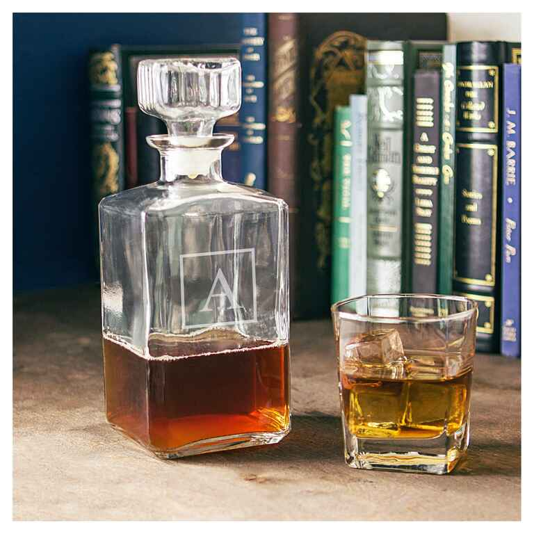 Initialed glass decanter engagement gift ideas