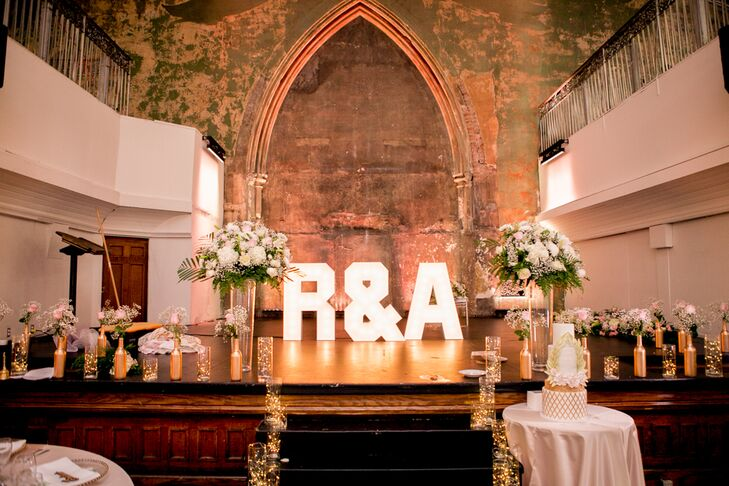 Blush and Gold Marquee Letters
