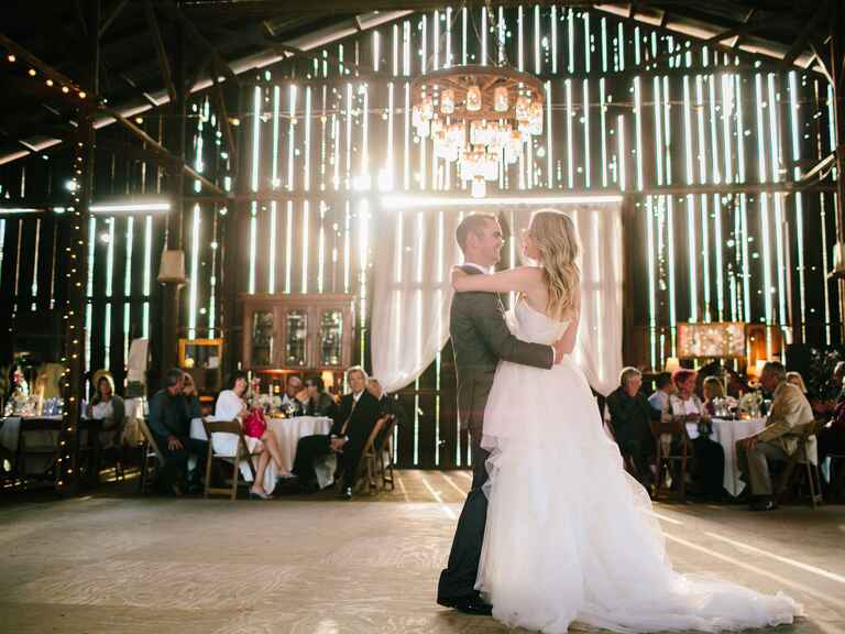 Barn wedding reception first dance