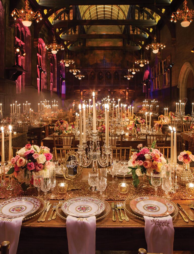 20 easy ways to decorate your wedding reception for Pictures of wedding venues decorated