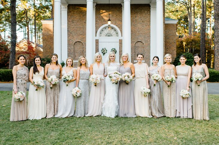 Mismatched Champagne and Gray Bridesmaid Gowns