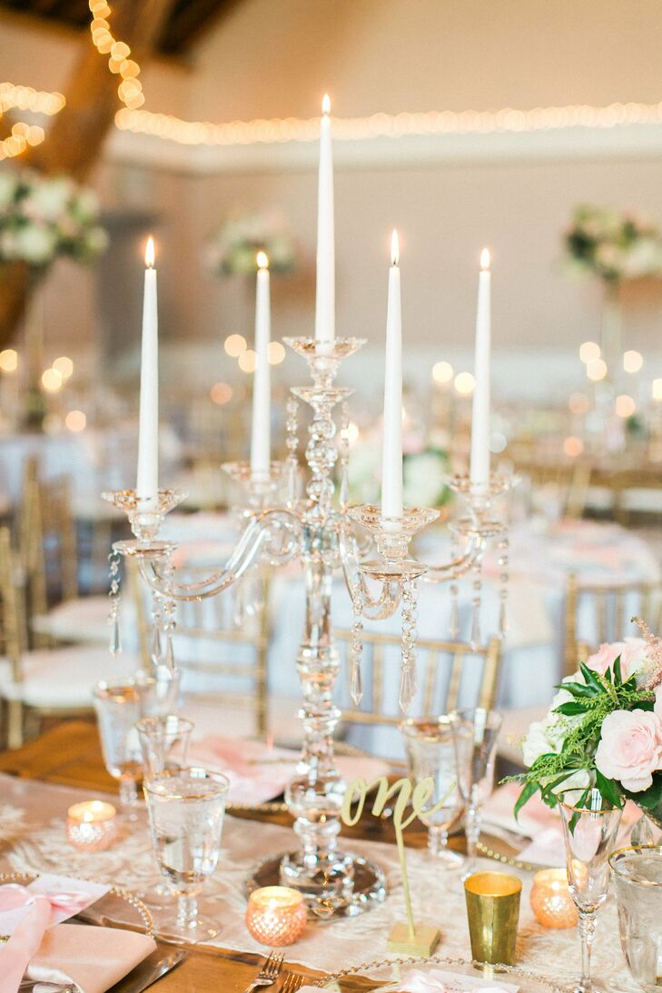 Lucite Candelabra Centerpiece with Taper Candles