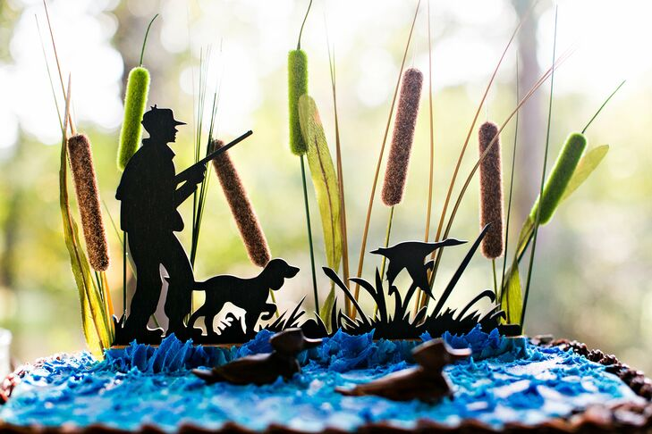 The Baking Grounds created a special groom's cake for Alex that looked like a hunting scene, complete with cattails, a dog and ducks in the water. (The best part: The cake was actually a giant brownie.)