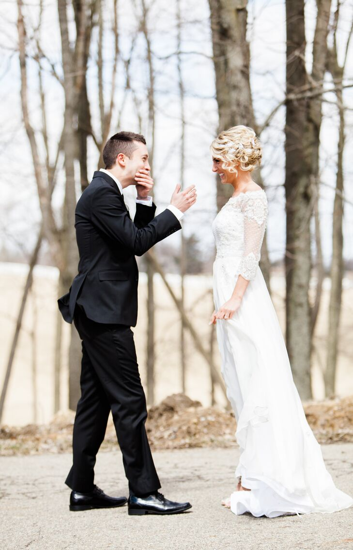 Tyler had an emotional reaction when first seeing Jenna on their wedding day, wearing a gorgeous custom-made white dress with a lace neckline and sleeves that added a romantic touch.