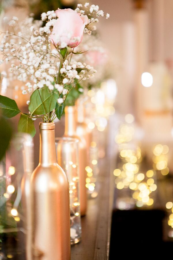 Hand-Painted Gold Wine Bottle Centerpieces