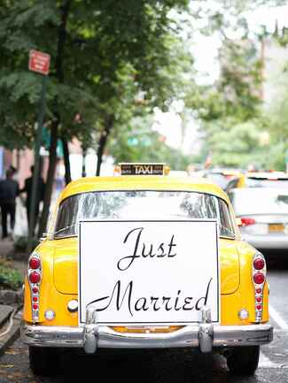 Taxi Cab wedding exit