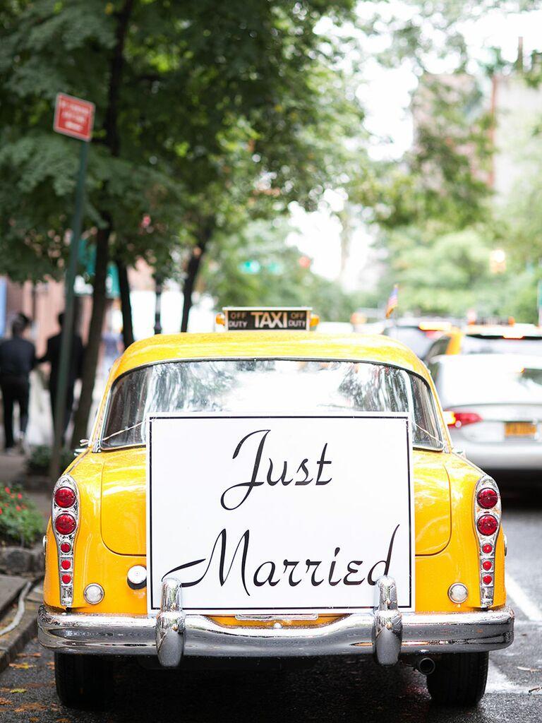 Taxi Cab Wedding Exit