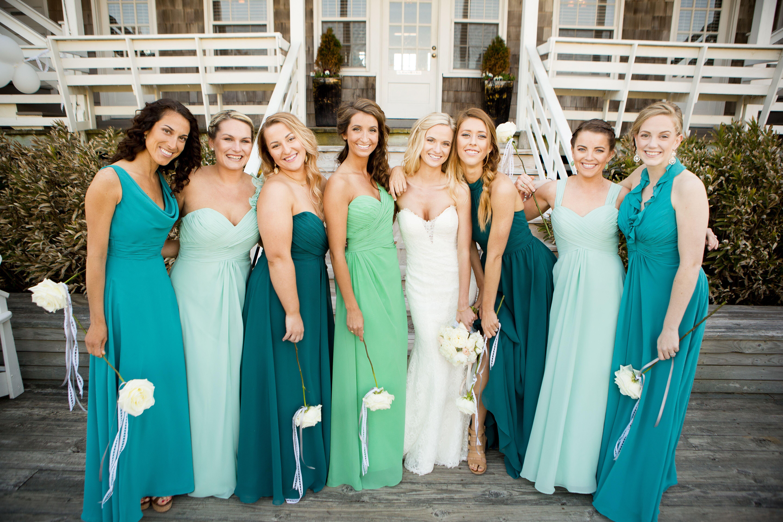 Shades of Blue and Green Bridesmaid Dresses