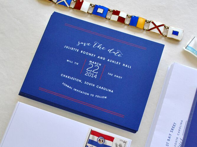 Nautical save-the-date from Chromatic Paper Goods