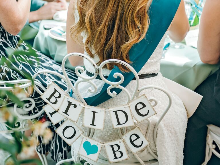 Bridal shower chair sign: