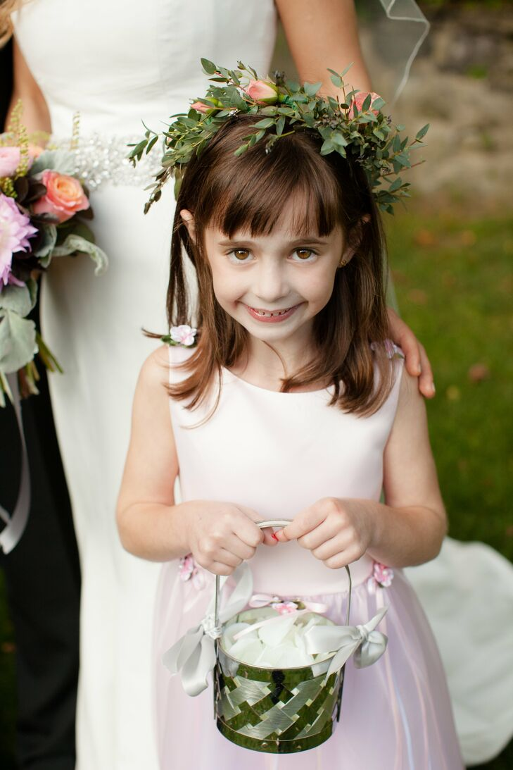 Flower Girl With Floral Crown And Green Basket