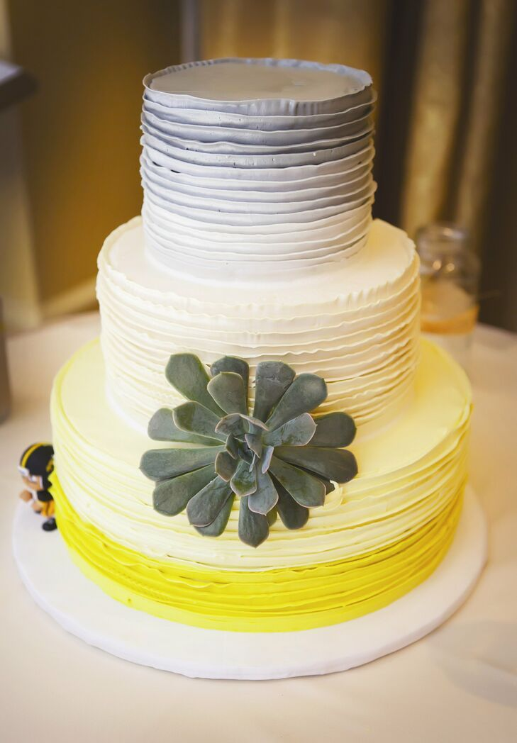 Ombre Gray and Yellow Wedding Cake