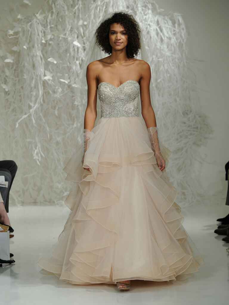 Watters Fall 2016 champagne A-line wedding dress with crystal beaded bodice and ruffled skirt
