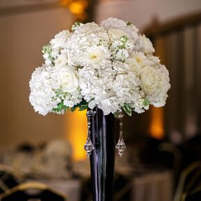 Black And White Centerpiece With Roses Hydrangeas