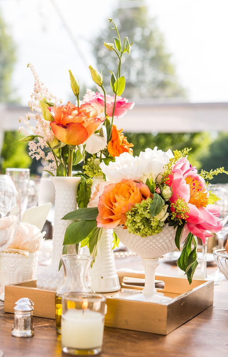 Mismatched vintage milk glass vase centerpieces