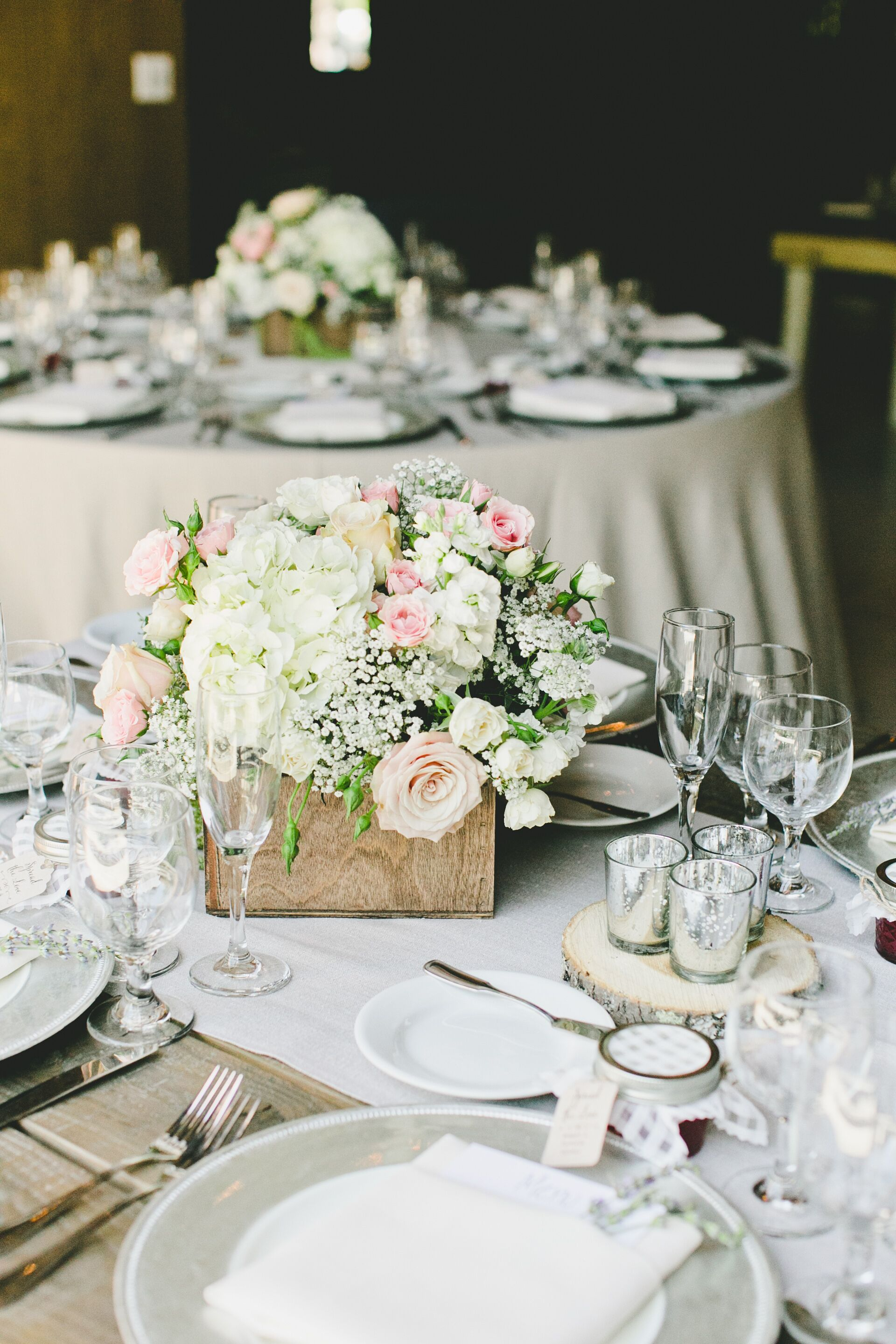 Hydrangea rose and baby s breath centerpiece