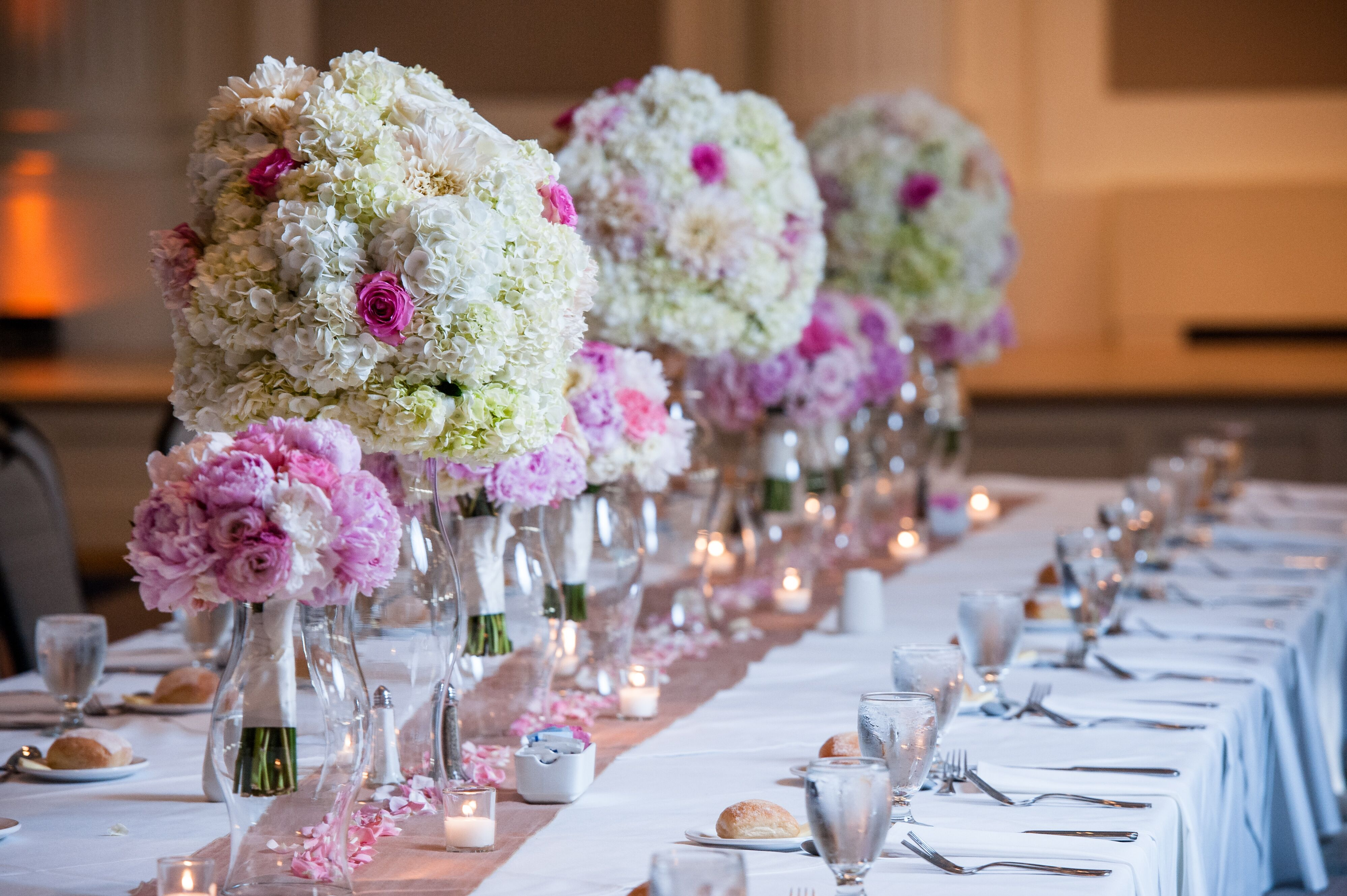 Romantic Hydrangea And Rose Head Table Centerpieces