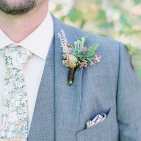 Wedding boutonnieres succulent boutonniere and floral tie junglespirit Images