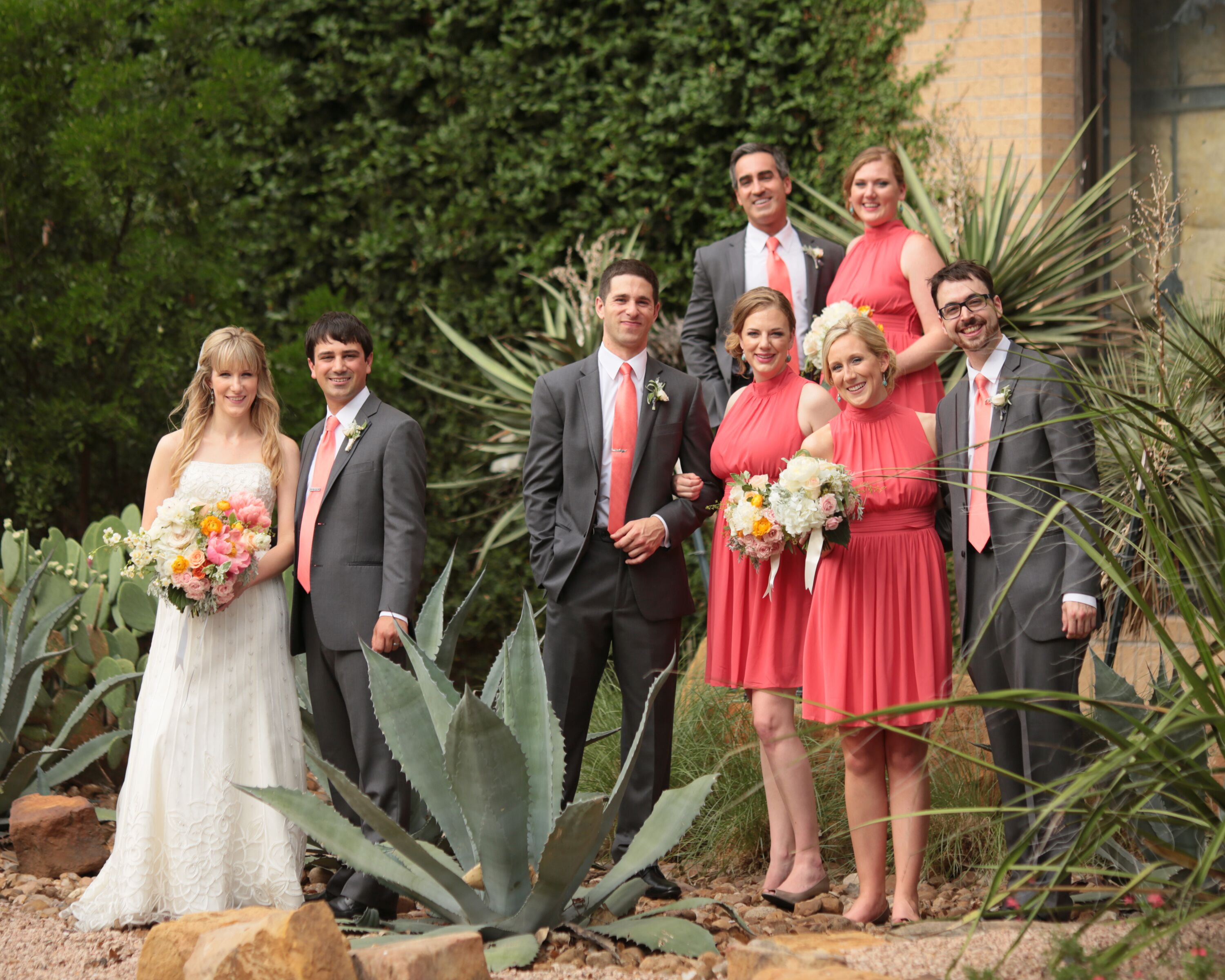 Coral Bridesmaid Dresses With Gray Groomsmen Suits
