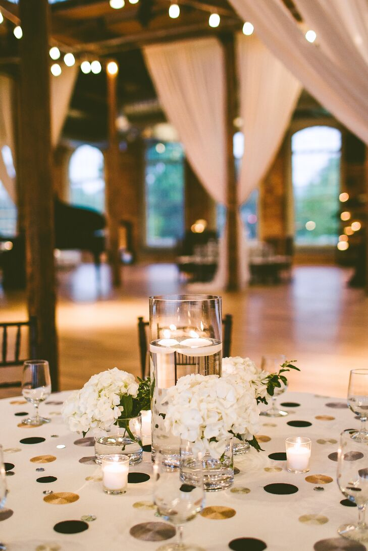 Floating Candle and White Hydrangea Wedding Centerpieces