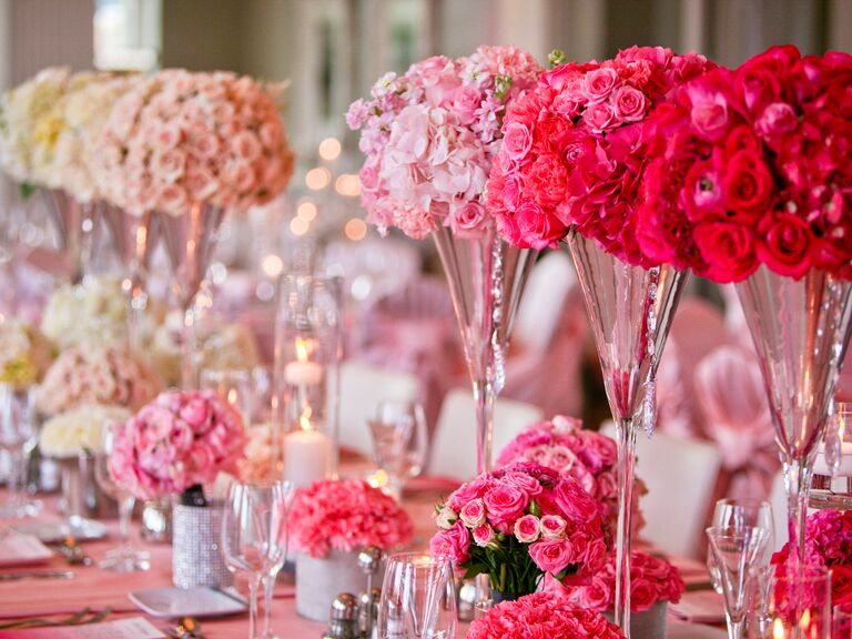 Pink ombre rose centerpiece