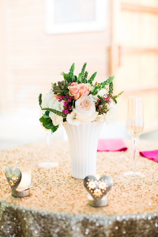 Pink Garden Rose Simple Wedding Reception Centerpiece