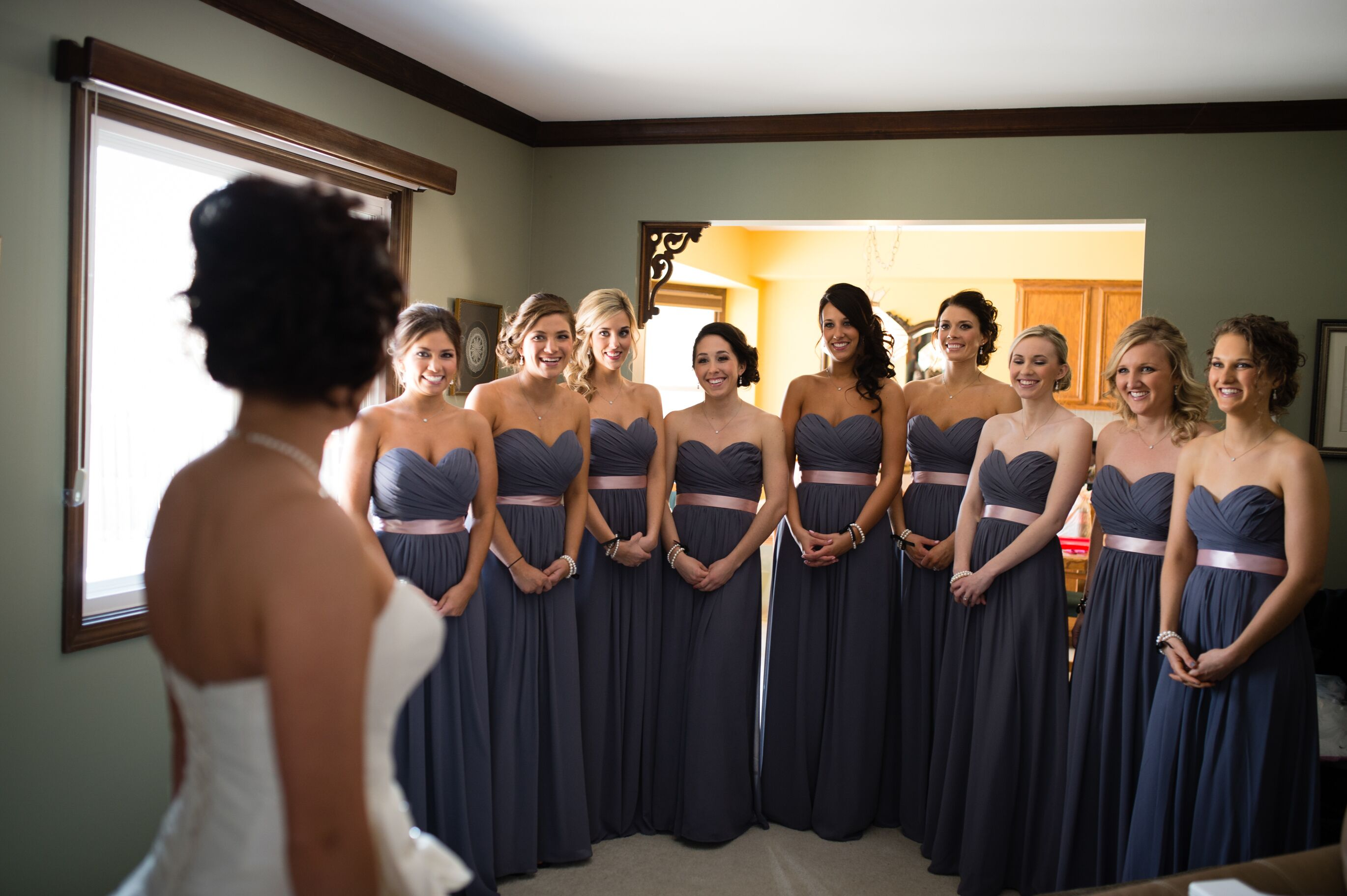 Charcoal Gray Bridesmaid Dresses with a Light Pink Sash
