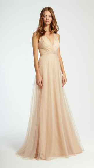 gold bridesmaid dress by Monique Lhuillier