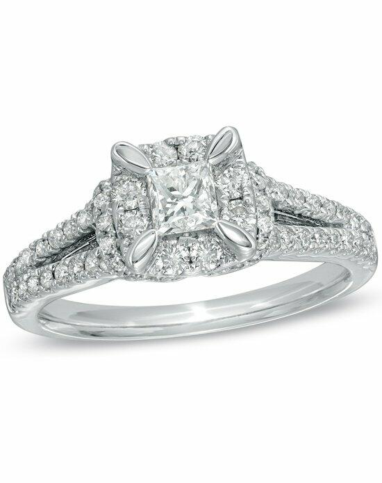Zales 1 CT. T.W. Princess-Cut Split Shank Engagement Ring in 14K White Gold  19983416 Engagement Ring photo