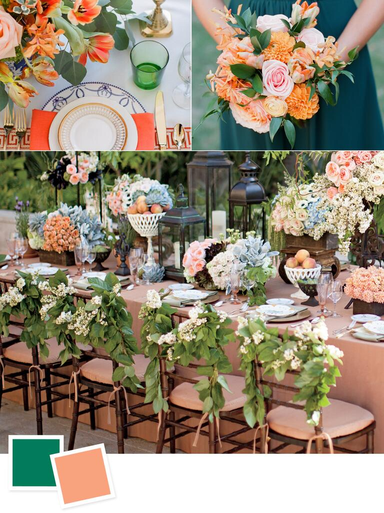 Emerald and melon wedding colors