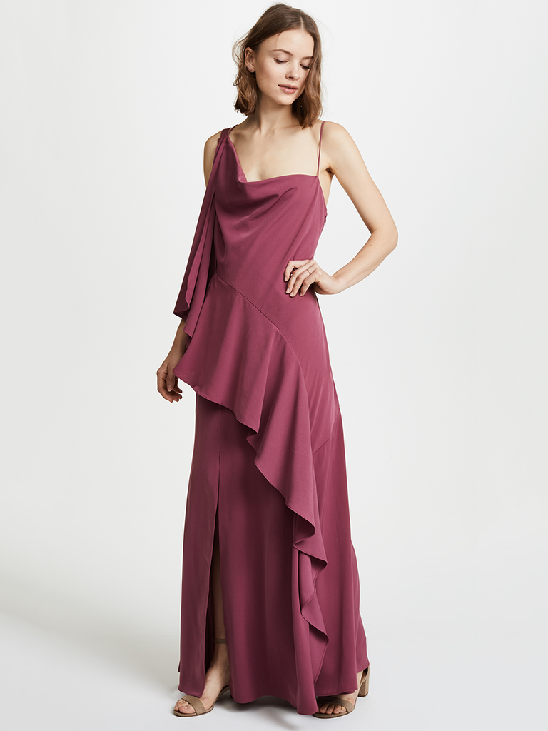 Need A Flirty Look For An Upcoming Winter Wedding This Ruffly Asymmetrical Gown Should Fit The Bill Plus It Ll Be Extra Swingy And Fun On Dance