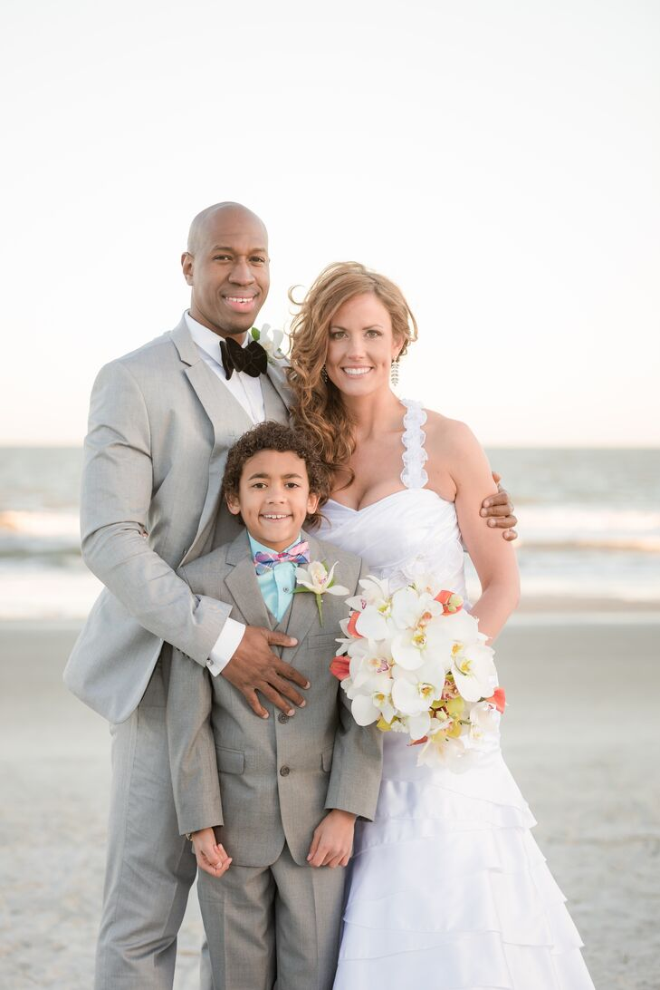 The beach at Hilton Head was not only a great backdrop for Bethany and Ali's ceremony, it was a beautiful backdrop for their wedding pictures. The couple's son was there for the entire day and they especially included him in ceremony. He, too, fit the formal beach theme in a gray suit, turquoise button-up shirt and a plaid bow tie.