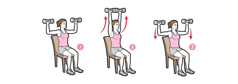 Seated dumbbell press arm exercise