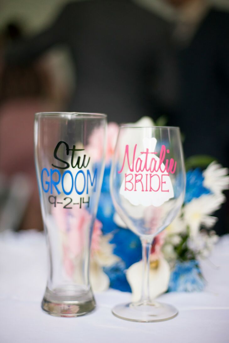The couple had custom made liquor glasses with their names etched on them.