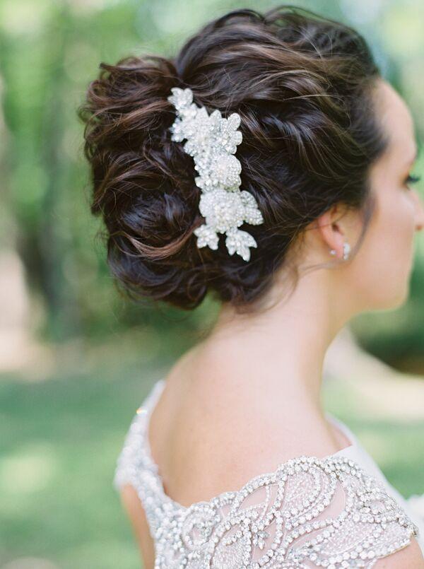Wedding updos glam hair pin complementing wedding dress beading junglespirit Choice Image