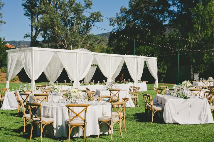 A combination of round tables and a long head table was the setup for the family-style dinner on the Herb Garden lawn at Ojai Valley Inn & Spa in Ojai, California.