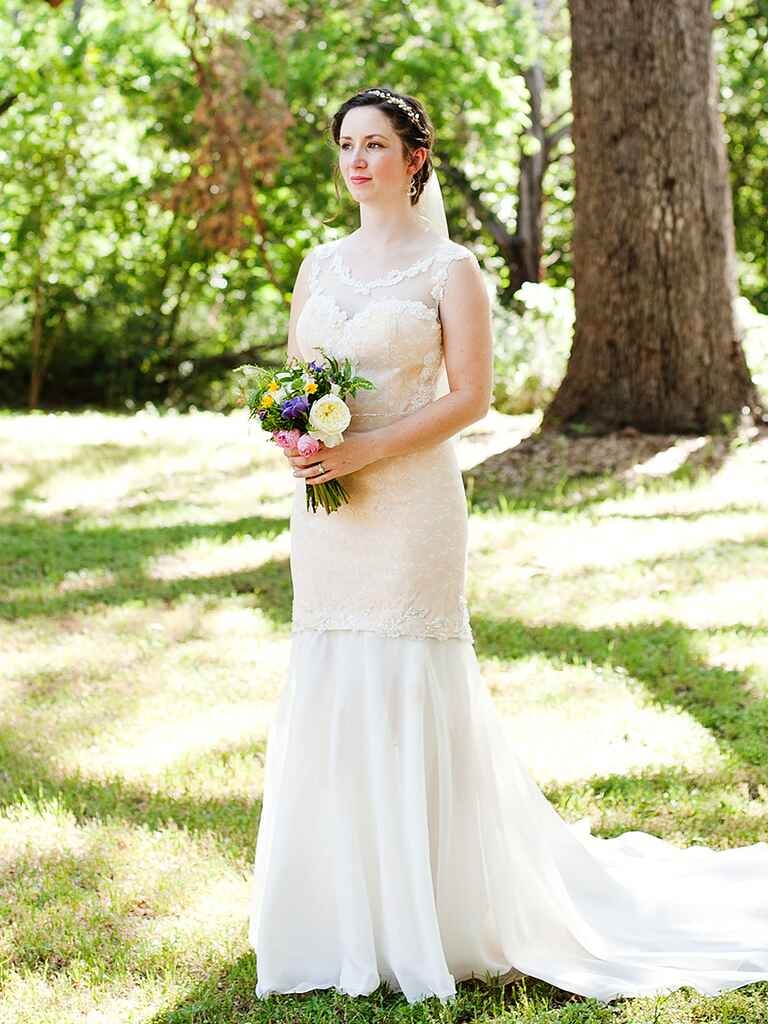 Vintage-inspired handmade lace wedding dress
